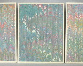 Note Cards SCS149 Set of Three Hand Marbled Silk Note Cards in multi-colored swirls from Brooklyn Marbling