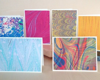 BXSS104  A variety of Hand Marbled Silk Note Cards from Brooklyn Marbling