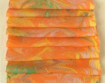 Silk scarf of vibrant tangerine swirls brighten up any wardrobe from Brooklyn Marbling- Free Shipping in the USA!