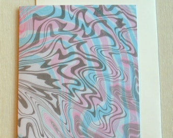 Note Card PC026 Printed Marbled Design, Suminagashi style from Brooklyn Marbling
