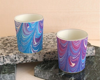 Hand marbled silk tea light holder purples and blues