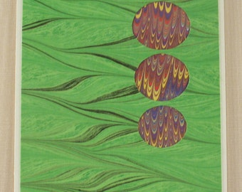 BC102  Hand Marbled Silk Bubble Card in greens and purples.