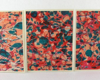 Note Cards SCS124  Set of Three Hand Marbled Silk Note Cards from Brooklyn Marbling