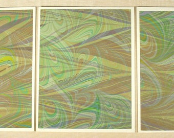 Note Cards SCS148 Set of Three Hand Marbled Silk Note Cards in multi-colored swirls from Brooklyn Marbling