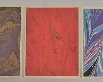 Note Cards SCS142  Hand Marbled Silk, Set of Three, original different designs from Brooklyn Marbling