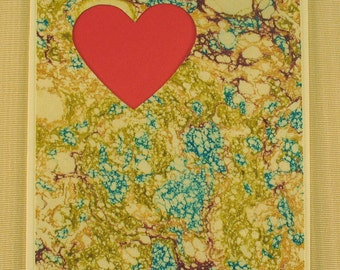 SHC117  Hand crafted marbled silk Heart Card with a classic Red Heart.