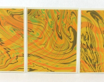Note Cards SCS125 Suminagashi Marbled Silk in Sets of Three from Brooklyn Marbling