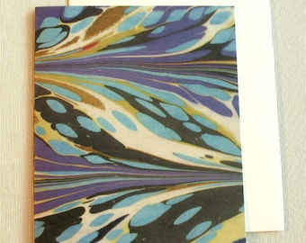 Note Card PC007 Printed Marbled Design from Brooklyn Marbling