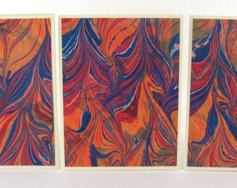 Note Cards SCS123  Set of Three Hand Marbled Silk Note Cards from Brooklyn Marbling