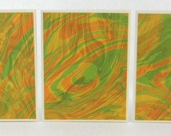 Note Cards SCS129  Suminagashi Marbled Silk in Sets of Three from Brooklyn Marbling