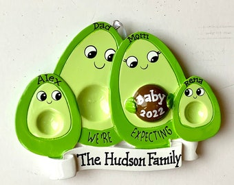 Pregnant Avocado Personalized Christmas Ornament Pregnant with Third child,Expecting Parents Mom to be, Dad to be