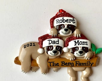 Three Sloths Personalized Christmas Family Ornaments Sloth Family of Three- Family of Three, Proud New Parents, New Grandparents, Triplets