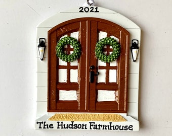Farmhouse Brown Door- Personalized Christmas Ornament New Home, New apartment, New family, Christmas hostess gift- free personalization