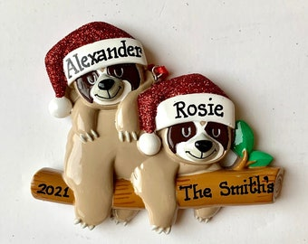 Sloth Couple Personalized Christmas Ornament Twins, Family of two,Newlywed Couple, Grandparents- Grandkids, Co-workers, Friends