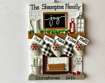 Personalized Christmas Family Stocking Ornaments-Triplets family of five, couple, grandkids,friends, co-workers