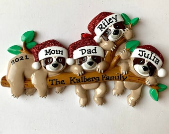 Four Sloths on a branch  Family of four Personalized Christmas Ornament - Grandkids, Twins 1st Christmas