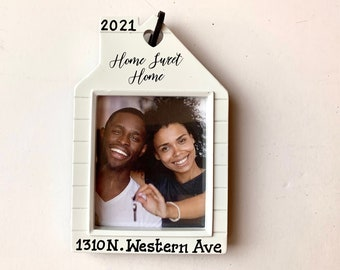 Home Sweet Home Picture Frame Personalized Christmas Ornament Our 1st Home, Our 1st apartment, New Home Christmas hostess gift-