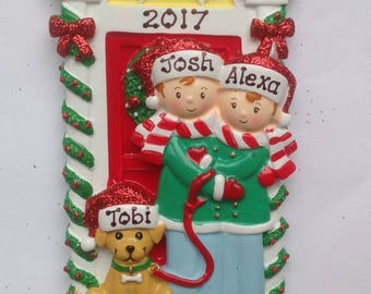 personalized christmas family ornaments newlywed couple with dog 1st apartment couples first christmas real estate salesperson gift