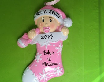 Personalized  Baby Girl  First Christmas Ornament Baby Stocking Girl- Newborn, Baby Shower Gift