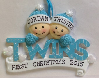 Personalized Twin Boys First Christmas Ornament- Boy/ BoyTwins Newborn, Baby Shower Gift / Favor