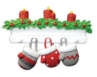 Personalized Christmas Family Mitten Ornaments family of three, triplets Grandparents gang, grandkids,friends co-workers
