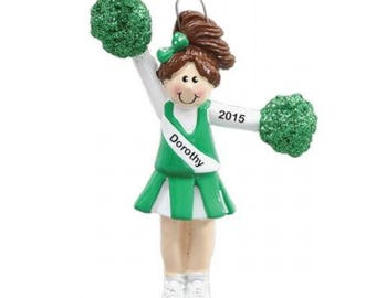 Personalized Brunette Green Cheerleader with Pom Poms Christmas Ornament- Free Personalization