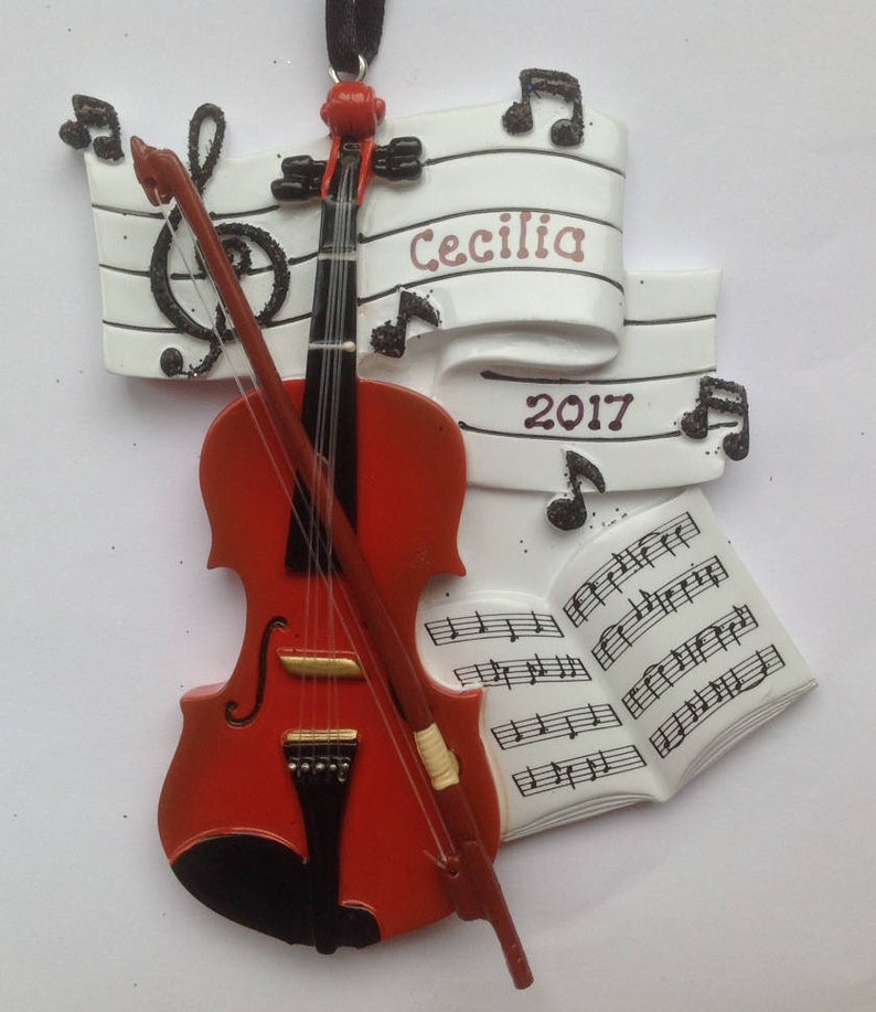 Composer Gift- Free personalization Personalized Orchestra Christmas Ornament  Musicians Artist Violin Music Teacher