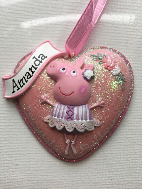 Peppa Pig Ballerina Personalized Christmas Ornament, baby gift, 1st Christmas, Gift tag, Party Favor, 1st Birthday
