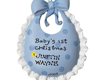 Personalized Baby's First Christmas Ornament Baby Bib- Boy Newborn, Baby Shower Gift Gift Tag