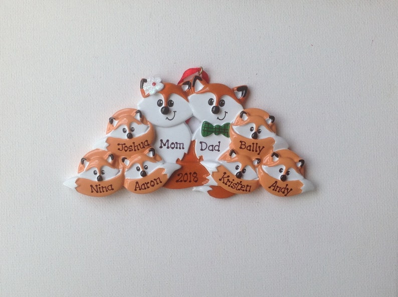 Eight Fox Personalized Christmas Ornament Family of Eight - best Friends,  coworkers Grandkids, Eight Coworkers Gift