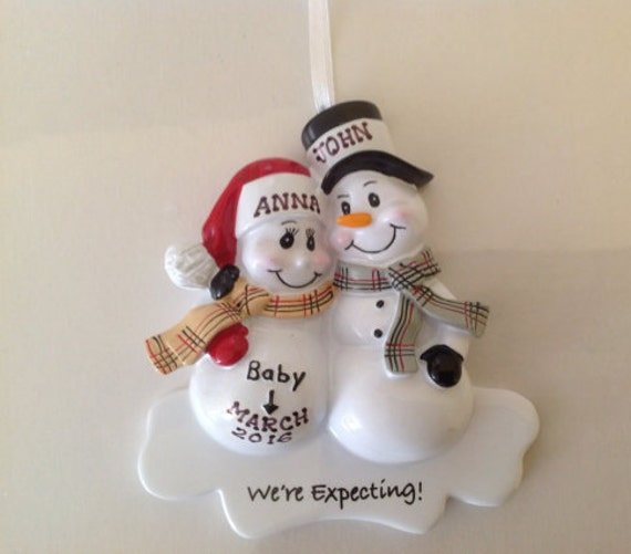 Personalized Christmas Ornament Pregnant Snowman Couple,Expecting Parents  Mom to be, Dad to be - Personalized Christmas Ornament Pregnant Snowman Etsy