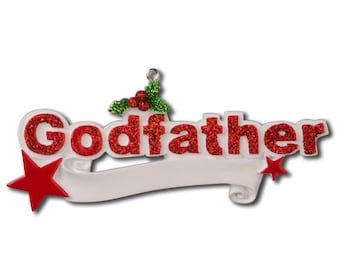 Personalized Christmas Godfather Ornament-, Newborn, Baby Shower , Christening Gift