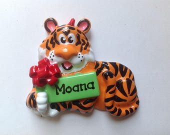 Personalized Christmas Ornament Jungle Safari Animals Tiger- Christmas  Ornament  Baby Boy's First Christmas