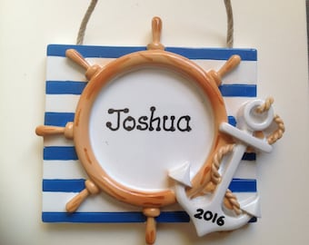 Personalized Christmas Ornament Anchor, Nautical,Ship, Boat, Wedding Favors -Free Personalization