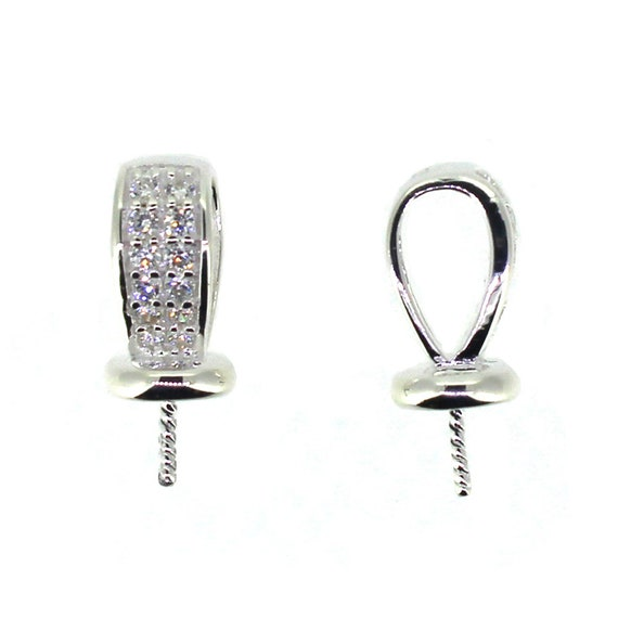 925 Sterling Silver Peg Bail Cap with CZ Stones for Half-Drilled Pearl 1 piece