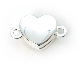 Sterling Silver Smooth Shiny Heart Clasp - Magnetic Clasp Toggle Set (Sold per 1 set) SKU: 202122