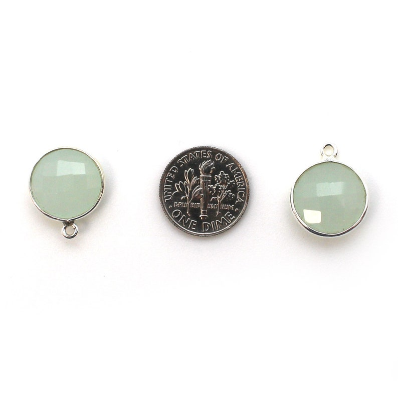 SKU 201111-AQC 1pc Bezel Gemstone Pendant-Aqua Chalcedony Faceted Round Charm-Sterling Silver Frame-Coin Shape Gem Pendant-19mm