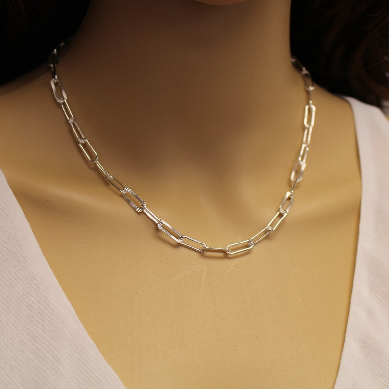 Gift for Her Silver Long Box Chain Necklace Finished Sterling Silver Textured Rectangle Link Necklace 16-20 inches SKU: 601061