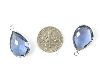 Iolite Quartz-Bezel Gemstone Pendant-Faceted Teardrop Charm-Sterling Silver Frame-Jewelry Charms and Pendants-22mm (1pc) SKU: 201110-IOQ