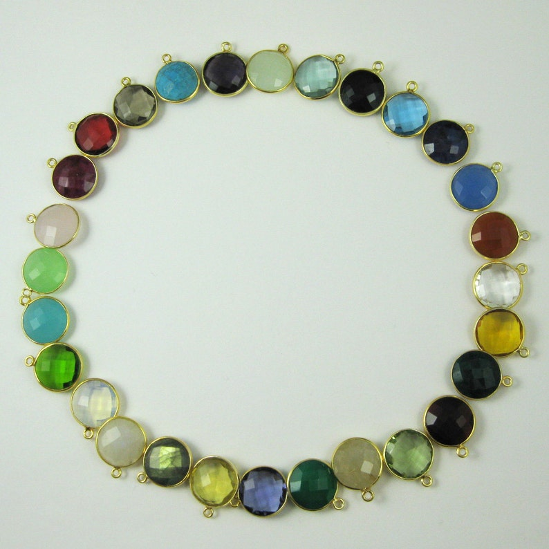 Natural Green Onyx 20mm Round Both Side Flat Smooth 925 Sterling Silver Gold Plated Bezel Pendant