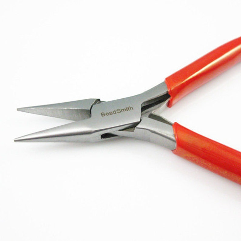 Beadsmith Pliers Chain Nose Pliers with Spring- Red PVC Handle Sku: 501014 Polished Steel Jewelry Making Pliers