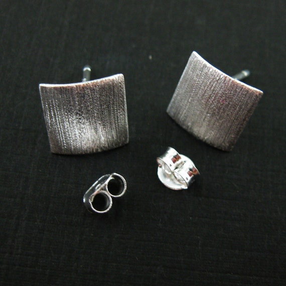 925 Sterling Silver Earrings Findings,Smooth Curved Square Earwire 10mm-1 pair