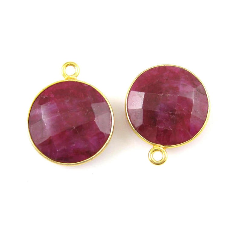Faceted Round Charm-Gold Plated Vermeil Frame-Jewelry Charms-Gem Pendant-14mm 1pc SKU: 201102-RUB Bezel Gemstone Pendant-Ruby Dyed
