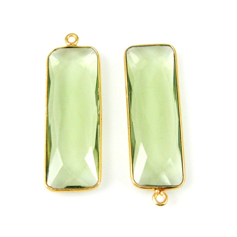 Sku Gemstone-Green Amethyst Quartz Birthstone-Faceted Elongated Rectangle Charm-Gold Vermeil-Long Bar Gem Pendant-34mm 1 pc 201104-GAQ