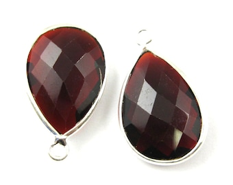 Garnet -Bezel Gemstone Pendant-Faceted Teardrop Charm-Sterling Silver Frame-Jewelry Charms and Pendants-22mm (1pc) SKU: 201110-GAR