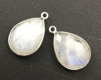 Moonstone -Bezel Gemstone Pendant-Faceted Teardrop Charm-Sterling Silver Frame-Jewelry Charms and Pendants-22mm (1pc)  SKU: 201110-MST
