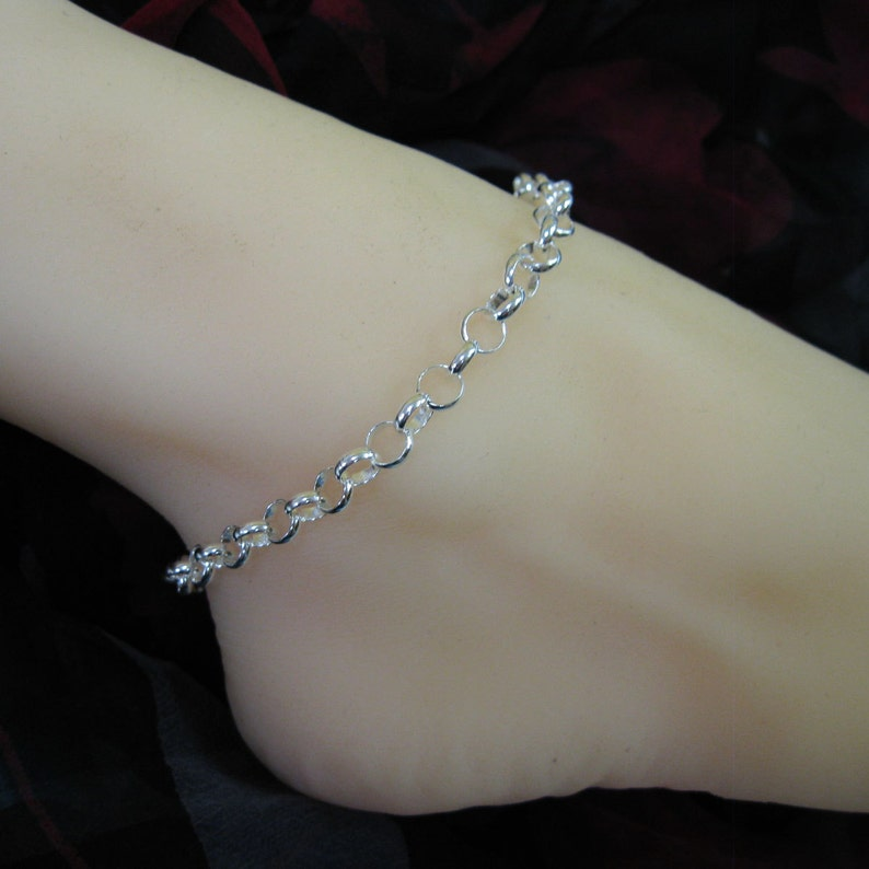 4248f9aab3d Sterling Silver Anklet Chunky Chain Huge Rolo Chain Anklet | Etsy
