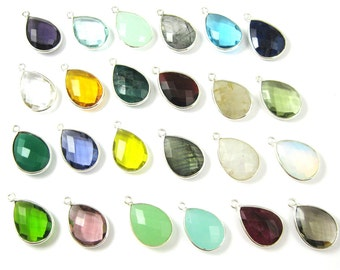 Bezel Gemstone Pendant-Faceted Teardrop Charm-Sterling Silver Frame-Jewelry Charms and Pendants-Gem Pendant-22mm (1 pc) -SKU: 201110