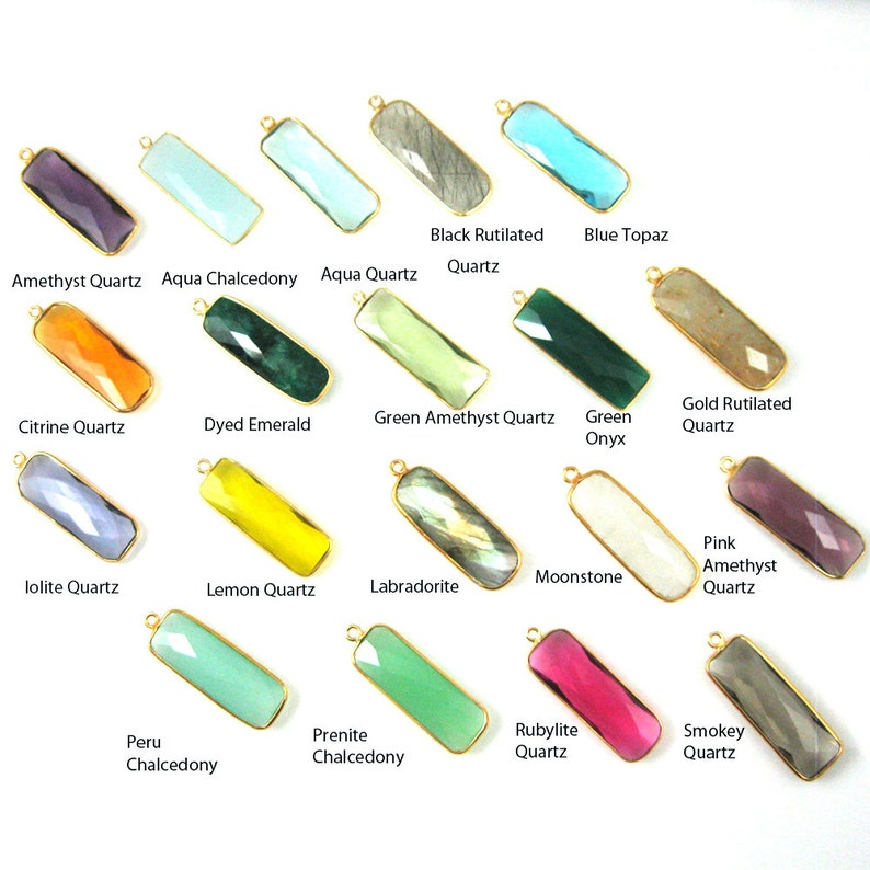 Gemstone-Garnet Quartz 1 pc Sku January Birthstone-Faceted Elongated Rectangle Charm-Gold Frame-Long Bar Gem Pendant-34mm 201104-GAR
