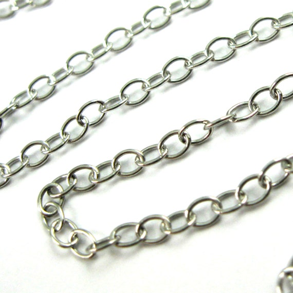 Sterling Silver Chain Oxidized Chain Bulk Chain Beaded Cable Chain 1.6mm